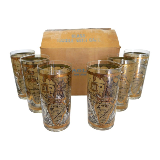 Old world map glasses set of 6 chairish old world map glasses set of 6 image 3 of 6 gumiabroncs Image collections