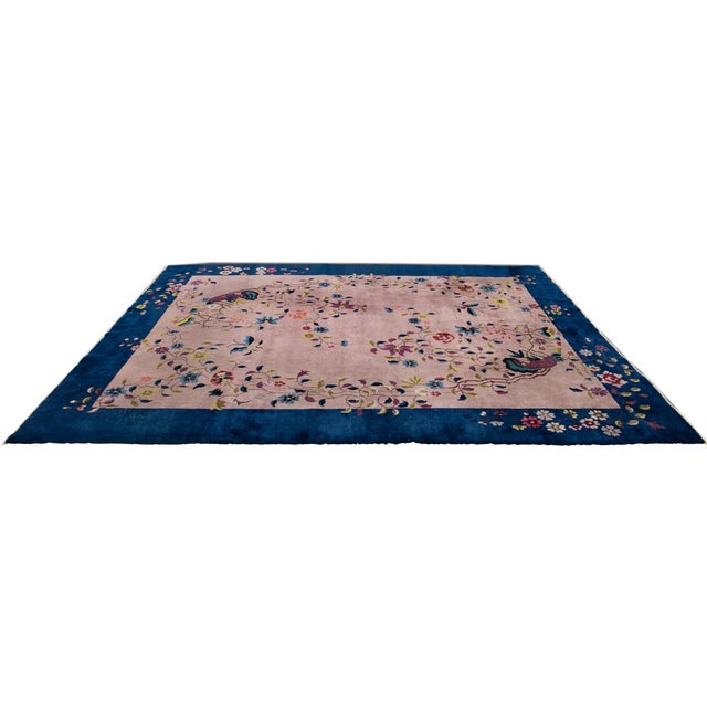 Antique Rose Chinese Art Deco Wool Rug 8 Ft 9 in X 11 Ft 8 In. For Sale In New York - Image 6 of 12