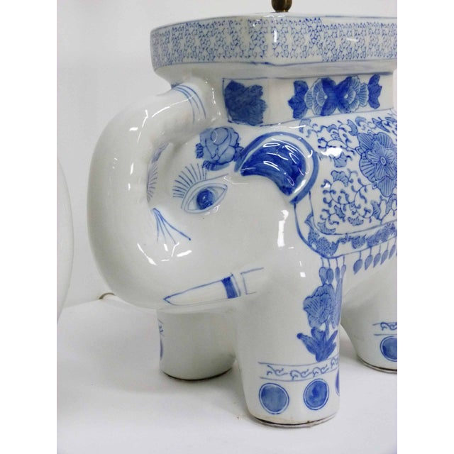 Chinese Blue & White Elephant Table Lamps - A Pair - Image 6 of 10