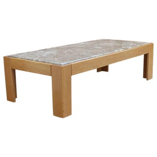 Knoll Beechwood and Marble Coffee Table For Sale