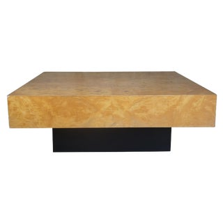 1976 Milo Baughman Olive Burled Wood Coffee Cocktail Table For Sale
