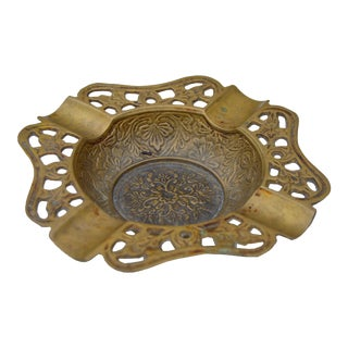 Handmade Moroccan Brass Ashtray For Sale