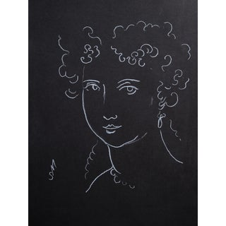 """Woman With Ringlets"" Minimalist Inspired White Charcoal Drawing by Sarah Myers For Sale"