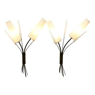 Pair of Brass, Glass and Lucite Wall Sconces in the Style of Maison Arlus, 1950s For Sale