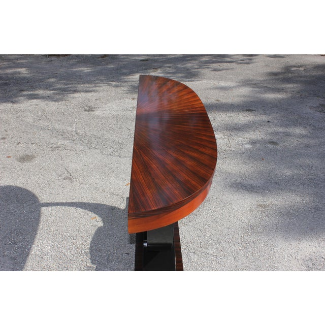 1940s Art Deco Exotic Macassar Ebony ''Sunburst'' Console Table For Sale - Image 9 of 13