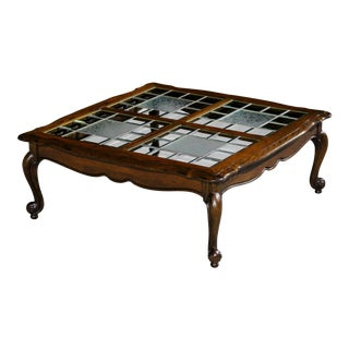 Mid-Century French Country Coffee Table With Authentic Beveled Leaded Glass Panels