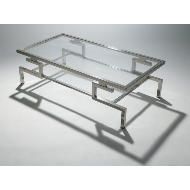 Maison Jansen Hollywood Regency Nickel Coffee Table Guy Lefevre for Maison Jansen, 1970s For Sale - Image 4 of 9