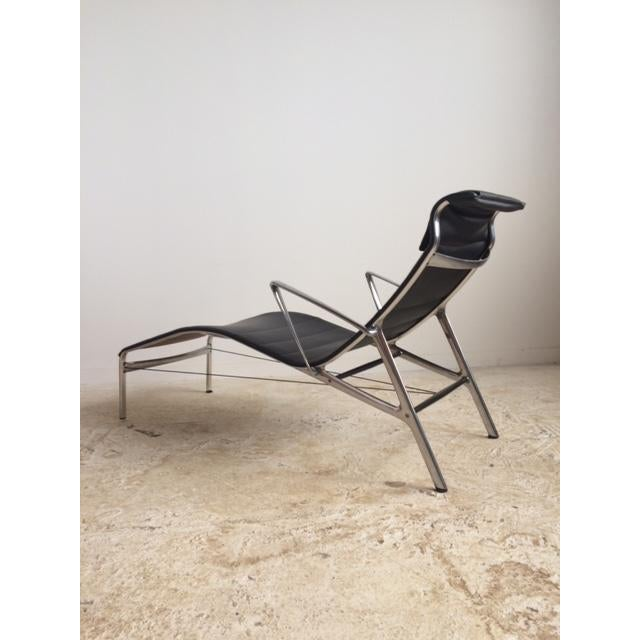 Sculptural Modern Black Leather Chaise - Image 3 of 4