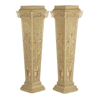 1940s French Neoclassical Painted Plaster Pedestals - a Pair For Sale