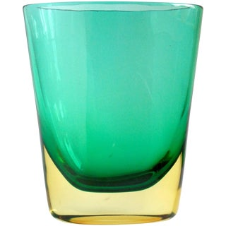 Flavio Poli Murano Sommerso Yellow Green Italian Art Glass Mid Century Vintage Flower Vase For Sale