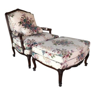 Louis XV Style French Provincial Bergere Chair & Ottoman For Sale