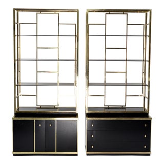Pair Romeo Rega Style Brass and Black Enamel Shelf Cabinets For Sale