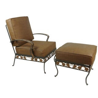 Brown Jordan Wrought Iron Club Chair & Ottoman