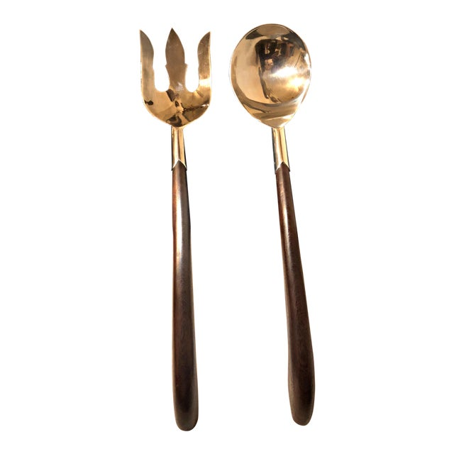 Mexican Silver & Walnut Salad Servers - A Pair For Sale