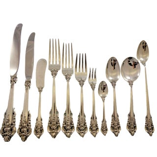 Grande Baroque by Wallace Sterling Silver Flatware Service 12 Set - 145 Pcs For Sale