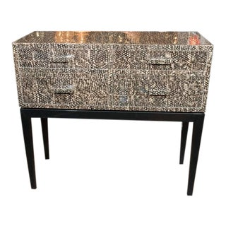 Golden Fish Skin Veneer Console Table For Sale