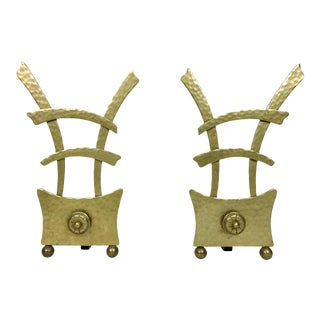 1950s Asian Modern Brass Andirons - a Pair