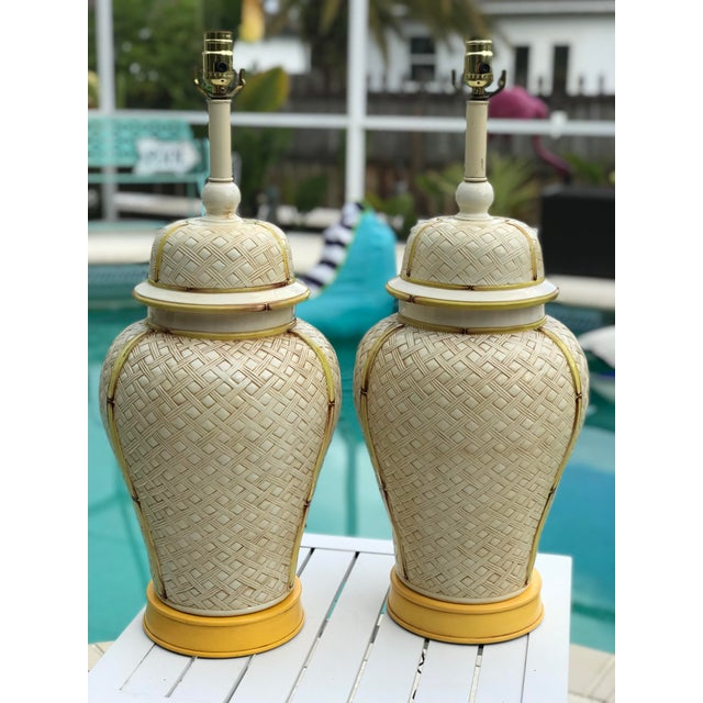 Vintage Faux Bamboo Basket Weave Ginger Jar Lamps-Pair For Sale - Image 11 of 11