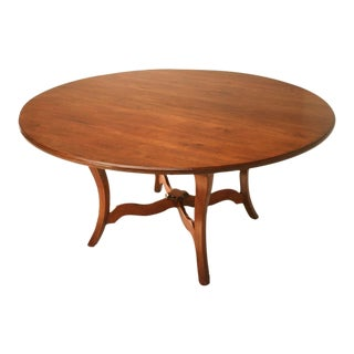 "Vintage English Hand-Crafted Solid Cherry 64"" Round Dining Table For Sale"