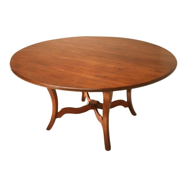 """Vintage English Hand-Crafted Solid Cherry 64"""" Round Dining Table For Sale"""