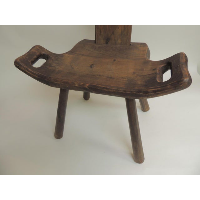 Vintage primitive rustic Belgian artisanal birthing chair with four legs Vintage birthing chair with four legs and...