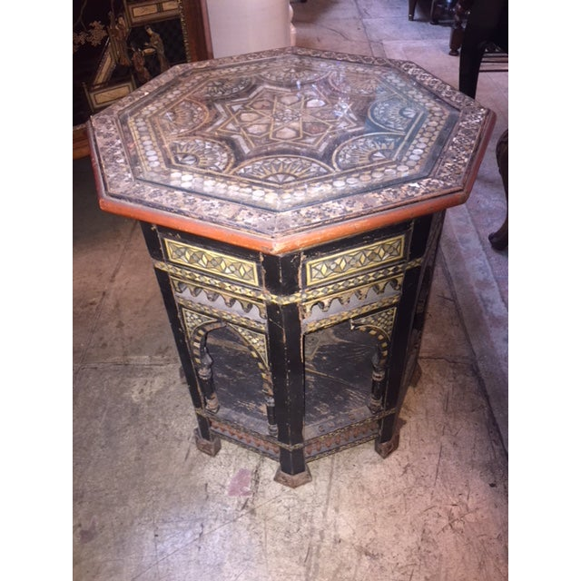 1960s Vintage Moroccan Octagon Mother of Pearl Inlay Table For Sale - Image 5 of 10