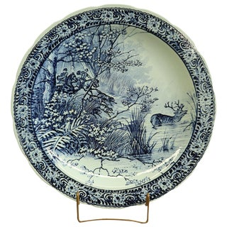 Boch Blue Delft Plate W/ Huntsman & Hounds and Deer For Sale