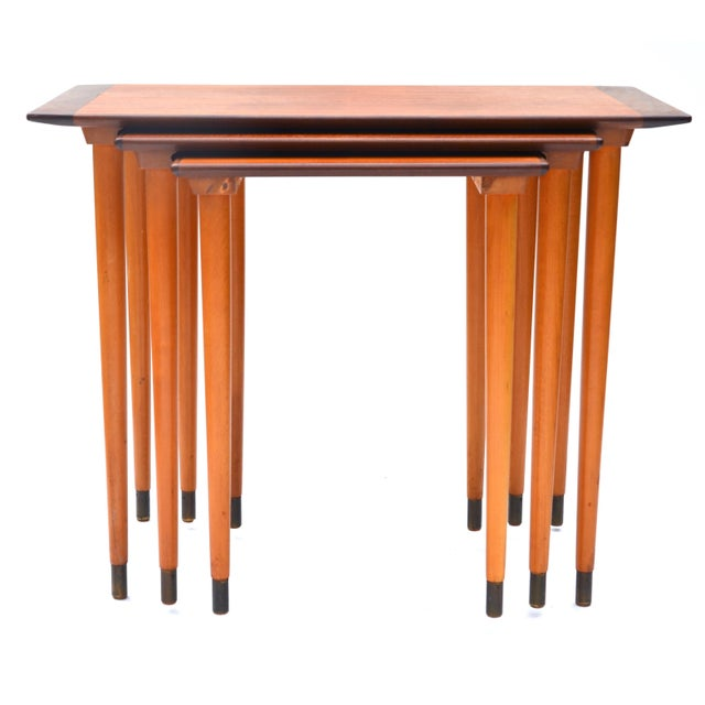 Scandinavian Teak Walnut Nesting Tables, Set of Three 1960s For Sale - Image 4 of 10