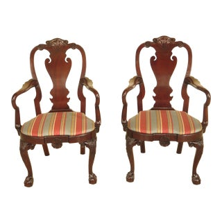 Kindel Winterthur Mahogany Clawfoot Arm Chairs - A Pair