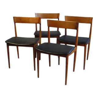 1960s Henry Rosengren Hansen Model 39 Teak & Leather Dining Chairs - Set of 4 For Sale