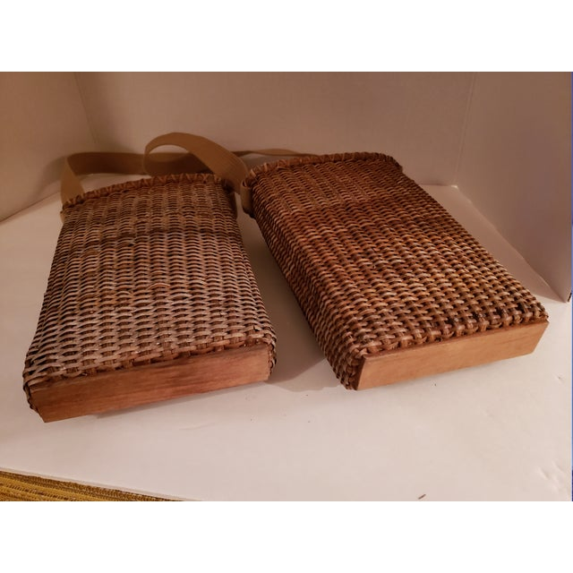 Cottage Vintage Wood Bottom, Canvas Strap Wicker Baskets - a Pair For Sale - Image 3 of 6