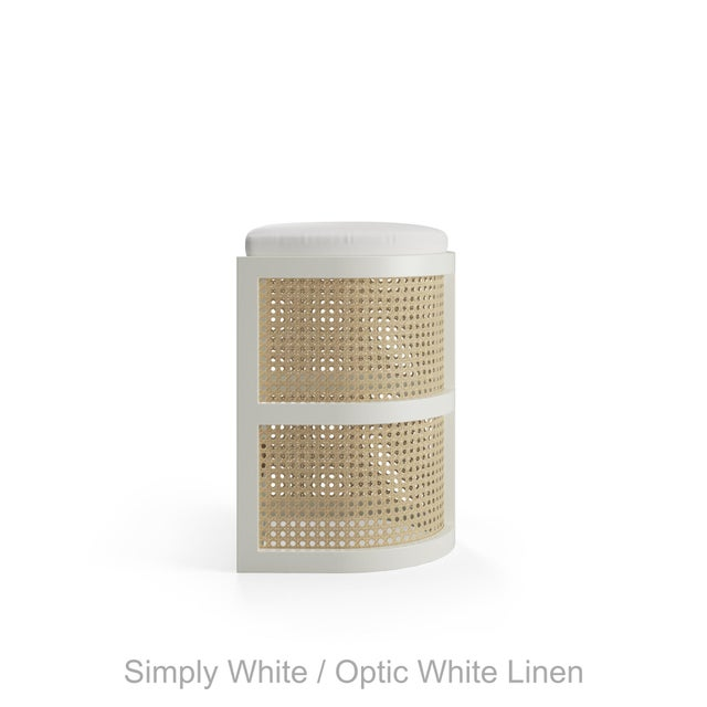 Contemporary Isabella Counter Stool - Coral Dust, Optic White Linen For Sale - Image 3 of 5