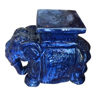Vintage Chinoiserie Cobalt Blue Glazed Ceramic Elephant Garden Stand Stool For Sale
