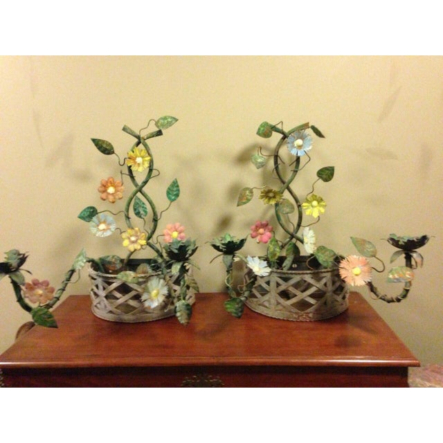 Shabby Chic 19th Century French Tole Ware Floral Bouquet Wall Sconces/Baskets - a Pair For Sale - Image 3 of 13
