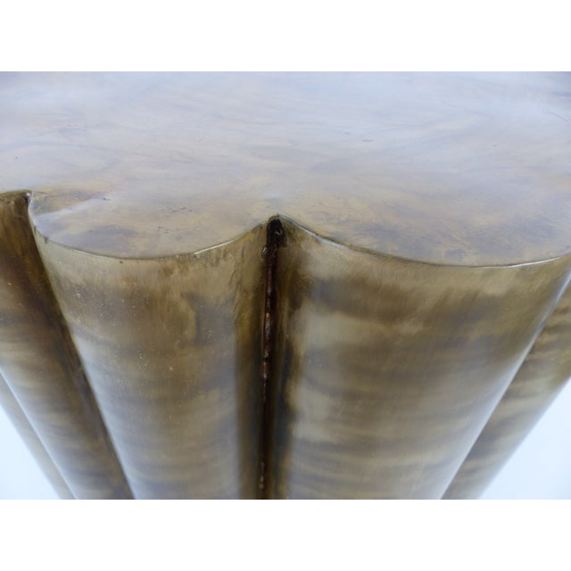 Scalloped Brass Finish Side Tables - a Pair - Image 8 of 11