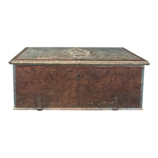 19th Century Rustic Swedish Painted Trunk For Sale