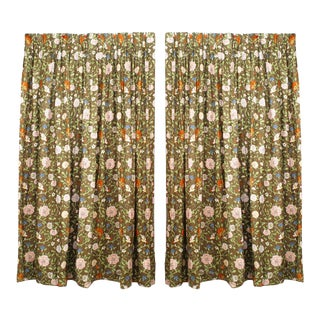 Cotton Drapes with Flowering Pattern - a Pair For Sale
