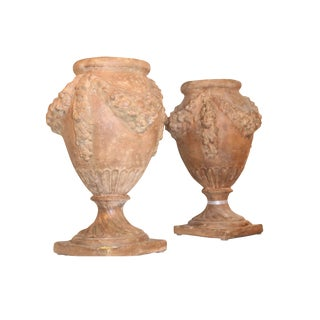 20th Century Italian Terra Cotta Urns — a Pair For Sale