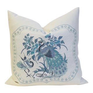 Blue & Cream Peacock Accent Pillow