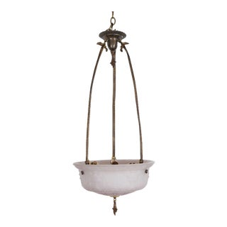 Late 19th Century White Glass Victorian Pendant Light with a Brass Frame and Canopy For Sale