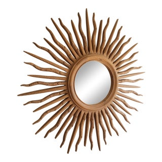 1980s Boho Chic Wooden Sunburst Mirror For Sale