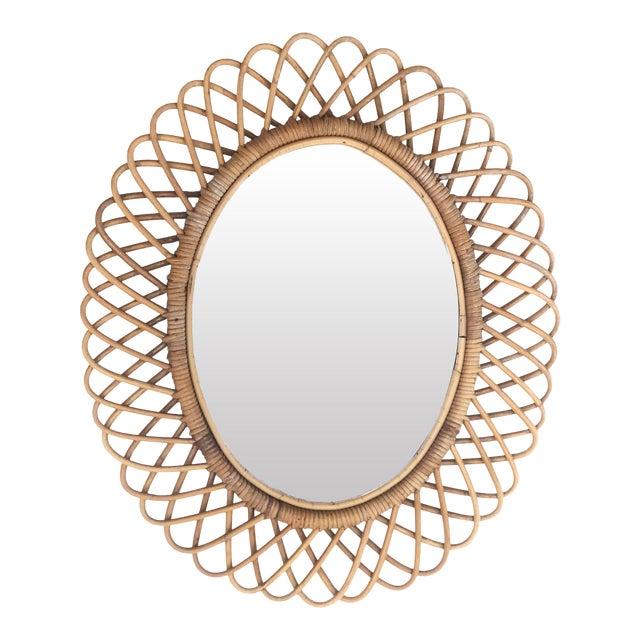 1950s Franco Albini Italian Oval Rattan Mirror For Sale
