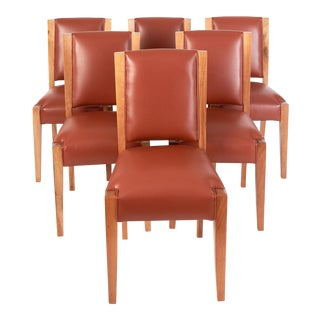 French 1930s André Sornay Art Deco Walnut and Leather Dining Chairs - Set of 6 For Sale