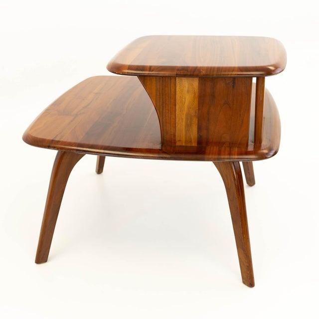 Mid CenturyModern Walnut Corner Side Table For Sale - Image 4 of 10