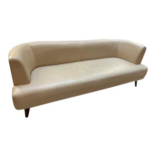 Mid Century Modern Adrian Pearsall Style Curved Cream Sofa For Sale