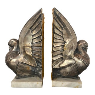 Vintage Art Deco Bird Bookends Signed P. Bernager - a Pair For Sale