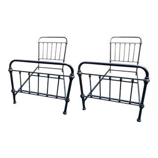 Pair of Metal Twin Sized Bed Frames in Pipe Form For Sale