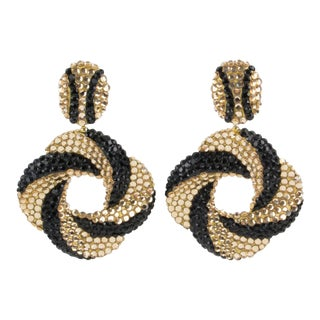 Richard Kerr Dangling Clip on Earrings Black and Champagne Rhinestones Paved For Sale
