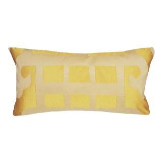Marrakesh Yellow Geometric Silk Lumbar Pillow