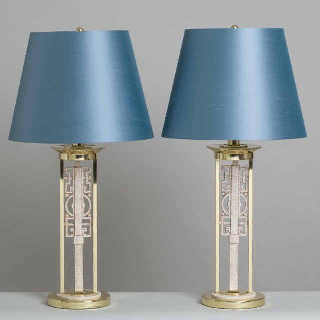 An Unusual Pair of Oriental Inspired Simulated Stone Metal and Brass Table Lamps 1970s NB: These items are subject to a...